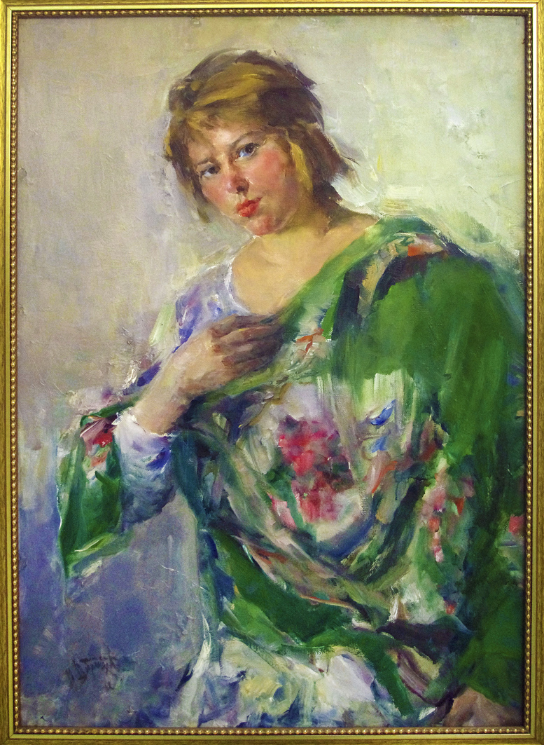 Михайло Добронравов. Дівчина в зеленій хустці, 1962; полотно, олія