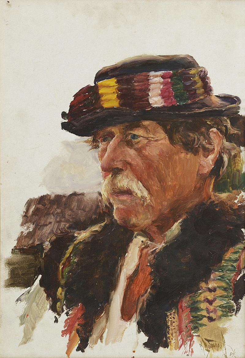 Михайло Добронравов. Гуцул Михайло Потож, 1954; картон, олія