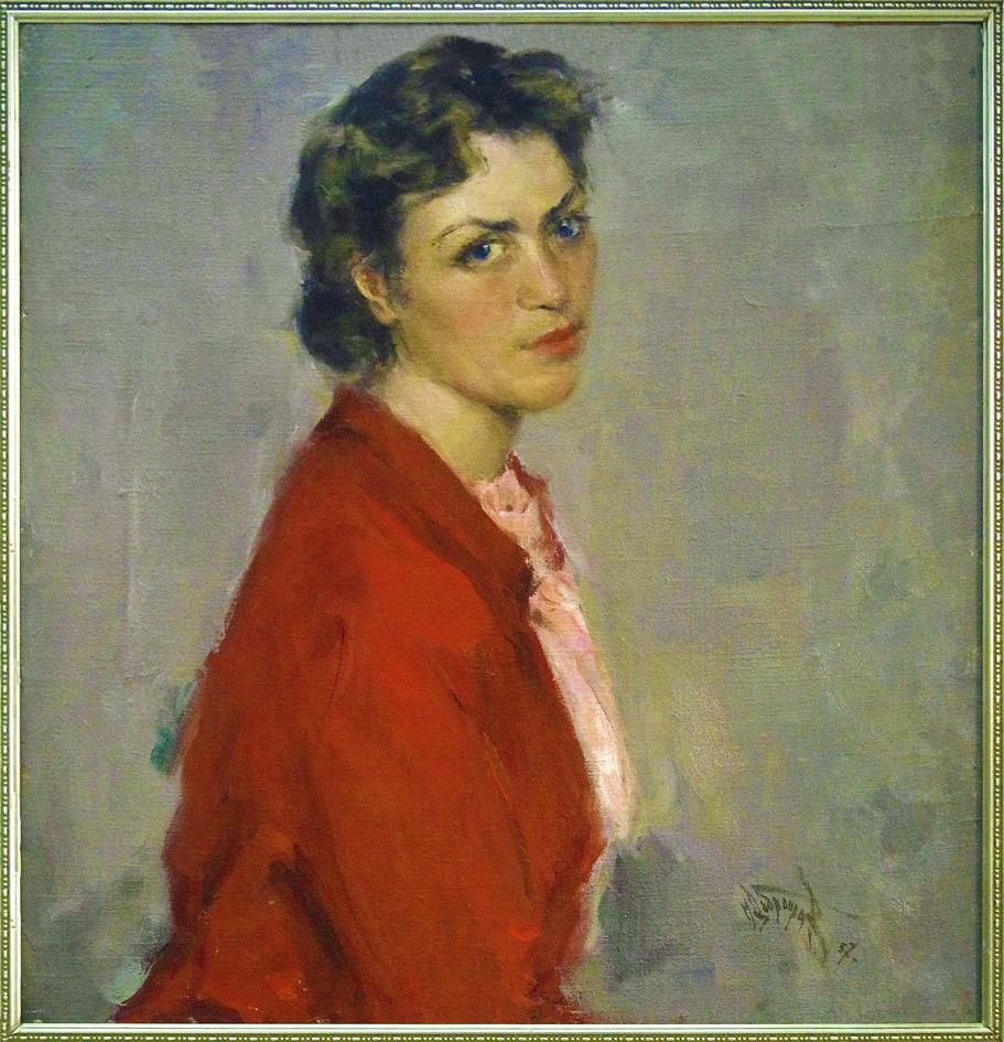 Михайло Добронравов. Портрет в червоному, 1957; полотно, олія