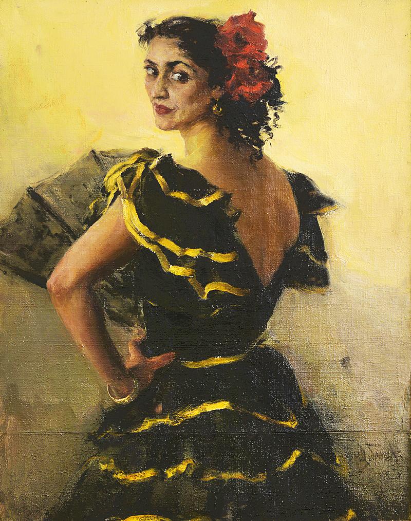 Михайло Добронравов. Єлена Шепілова танцівниця 1955; полотно, олія