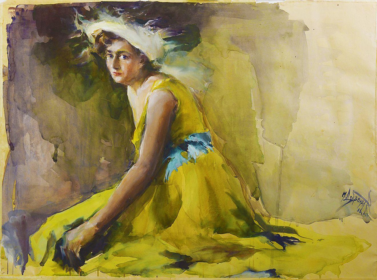 Михайло Добронравов. В жовтій сукні, 1956; папір, акварель