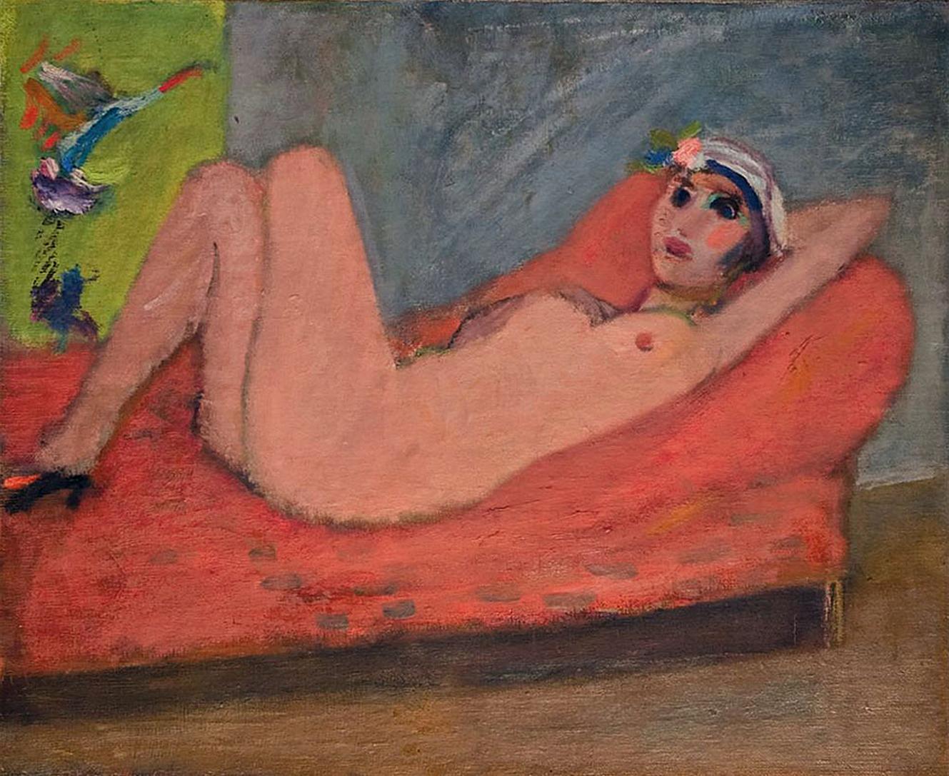 Артур Нахт-Самборський. Ню на червоній софі 1935; олія, полотно