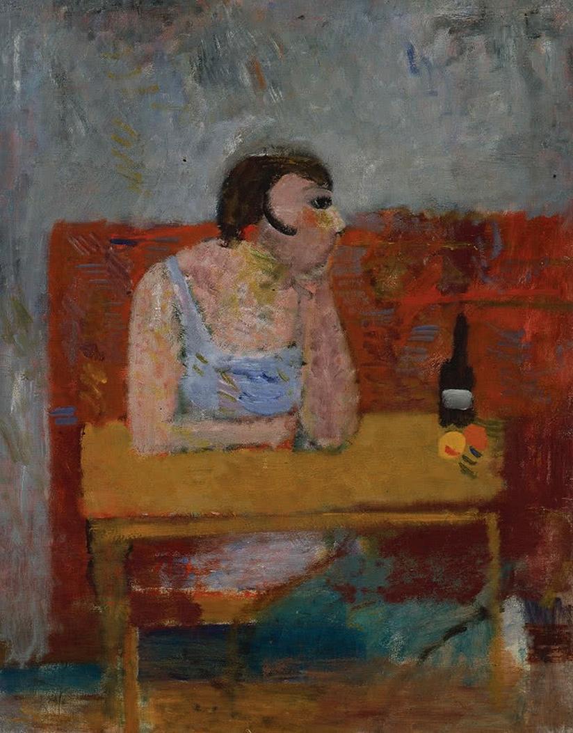 Артур Нахт-Самборський. Жінка в барі, 1934; олія, полотно; NMP