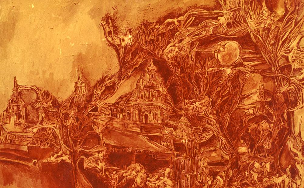 Христина Абрагамовська. Пейзаж із птахами, 1988; олія, полотно