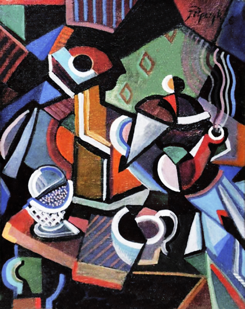 Юзеф Попчик. Натюрморт з чайником, 1924; картон, гуаш