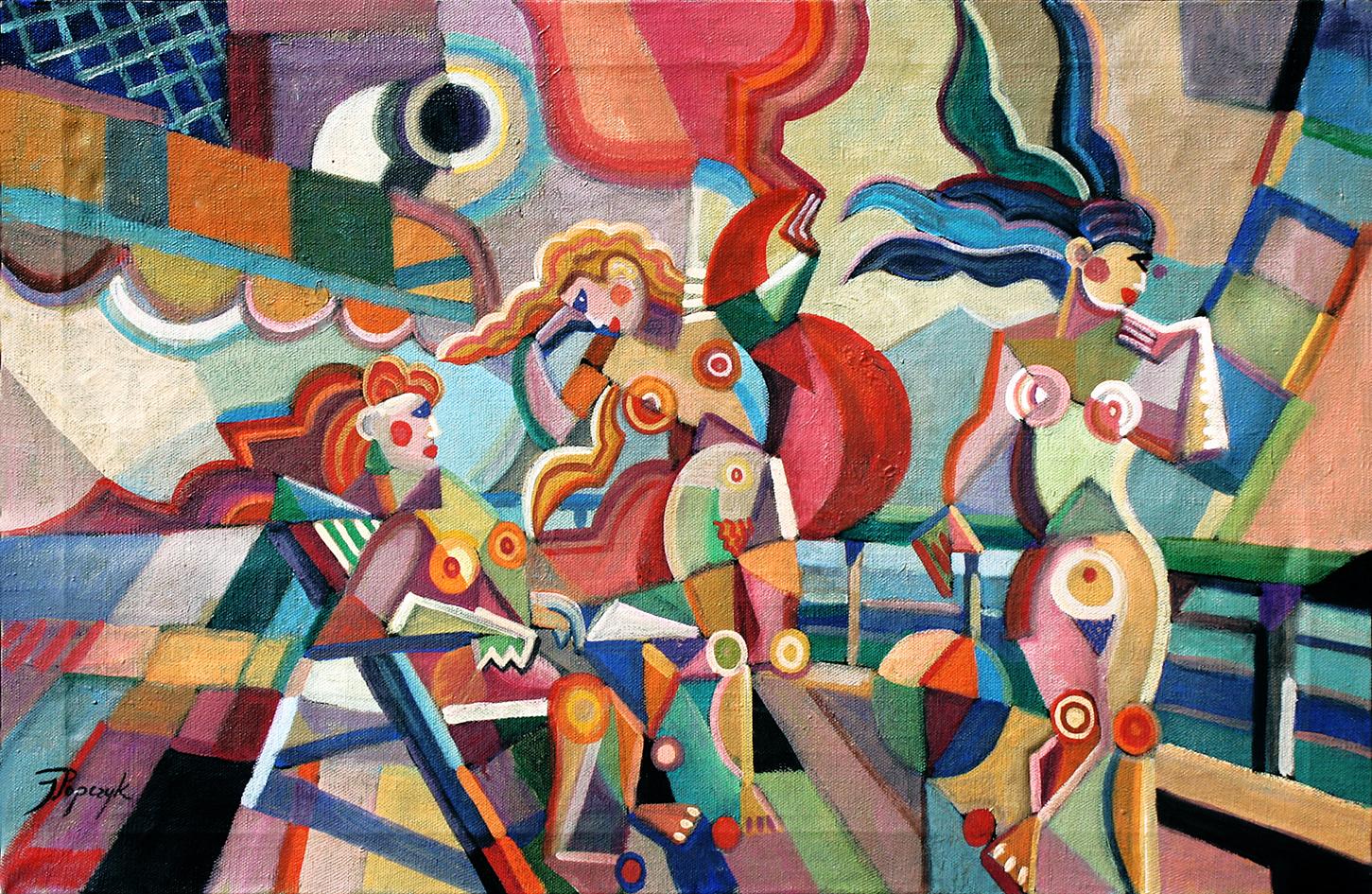 Юзеф Попчик. Три купальниці на кораблі, 1931; олія, полотно