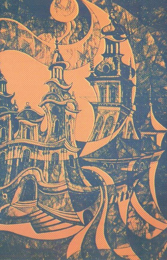 Уляна Слюсар. Архітектурні метаморфози, 1987 р. Кольоровий лінорит. 42,5 х 30,3 см