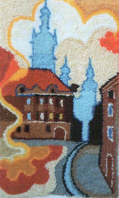 Уляна Слюсар. Ранковий настрій, 1996. Килимова голка. 59 х 40 см