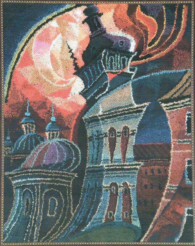 Уляна Слюсар. Заграва над «Успенкою» І, 1989. Килимова голка. 66 х 53 см