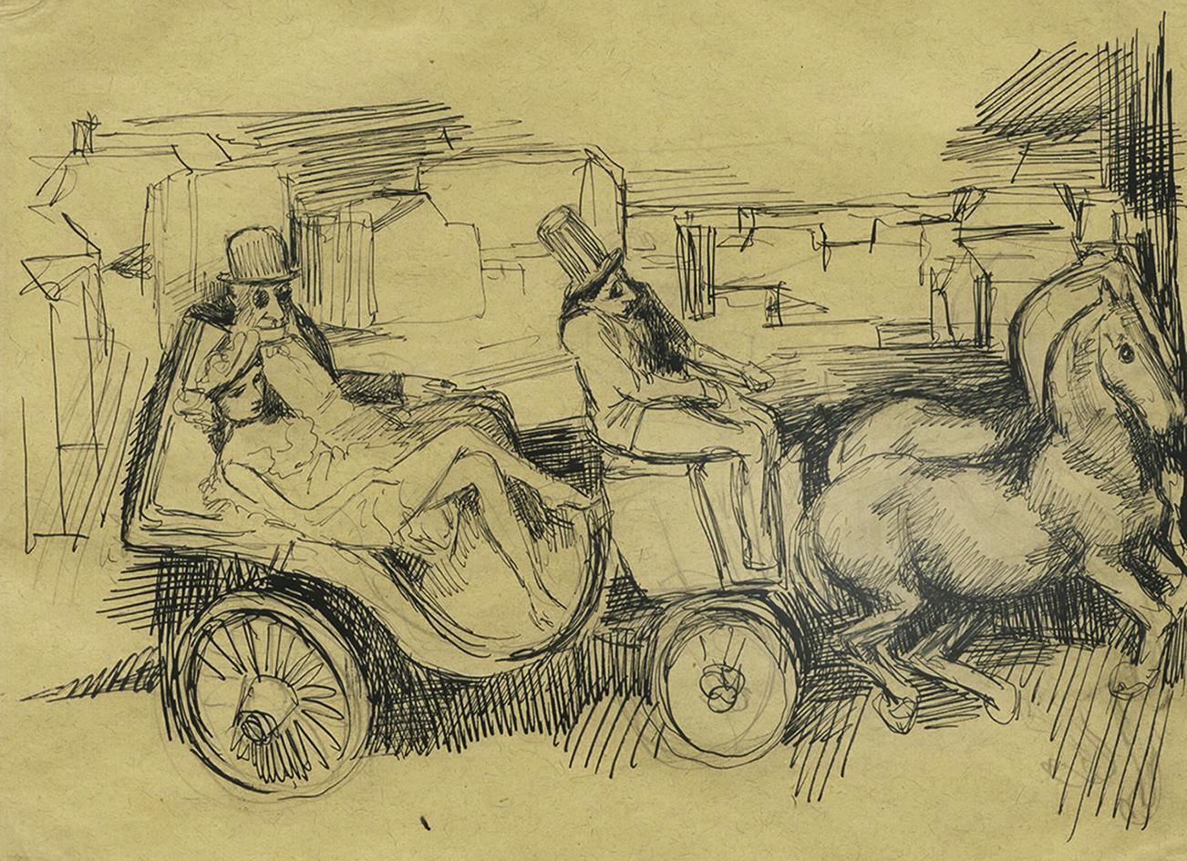 Бруно Шульц. Бьянка з батьком в кареті, 1936; папір,туш