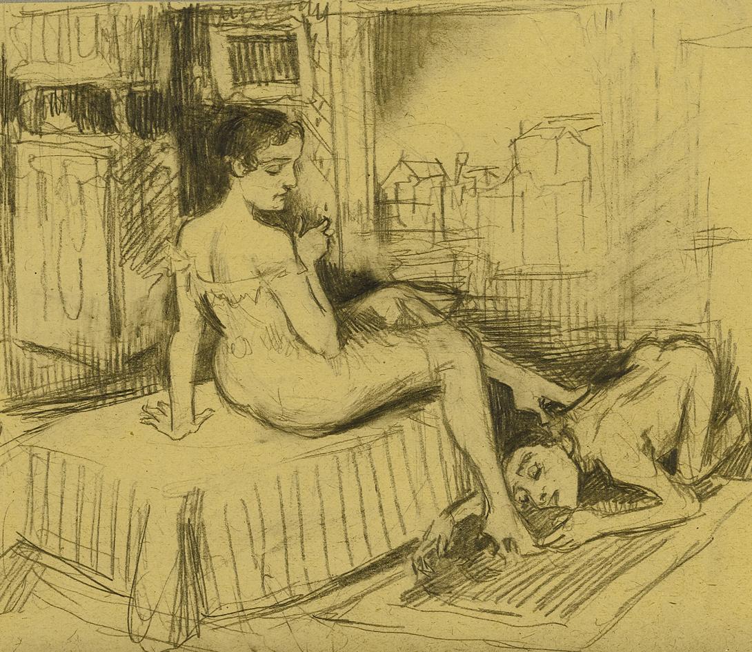 Бруно Шульц. Чоловік біля її ніг; папір, олівець