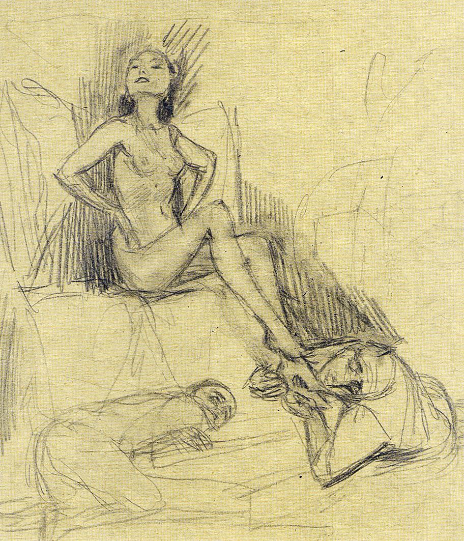 Бруно Шульц. Чоловіки у підніжжя жінки, 1933; папір, олівець; MLW