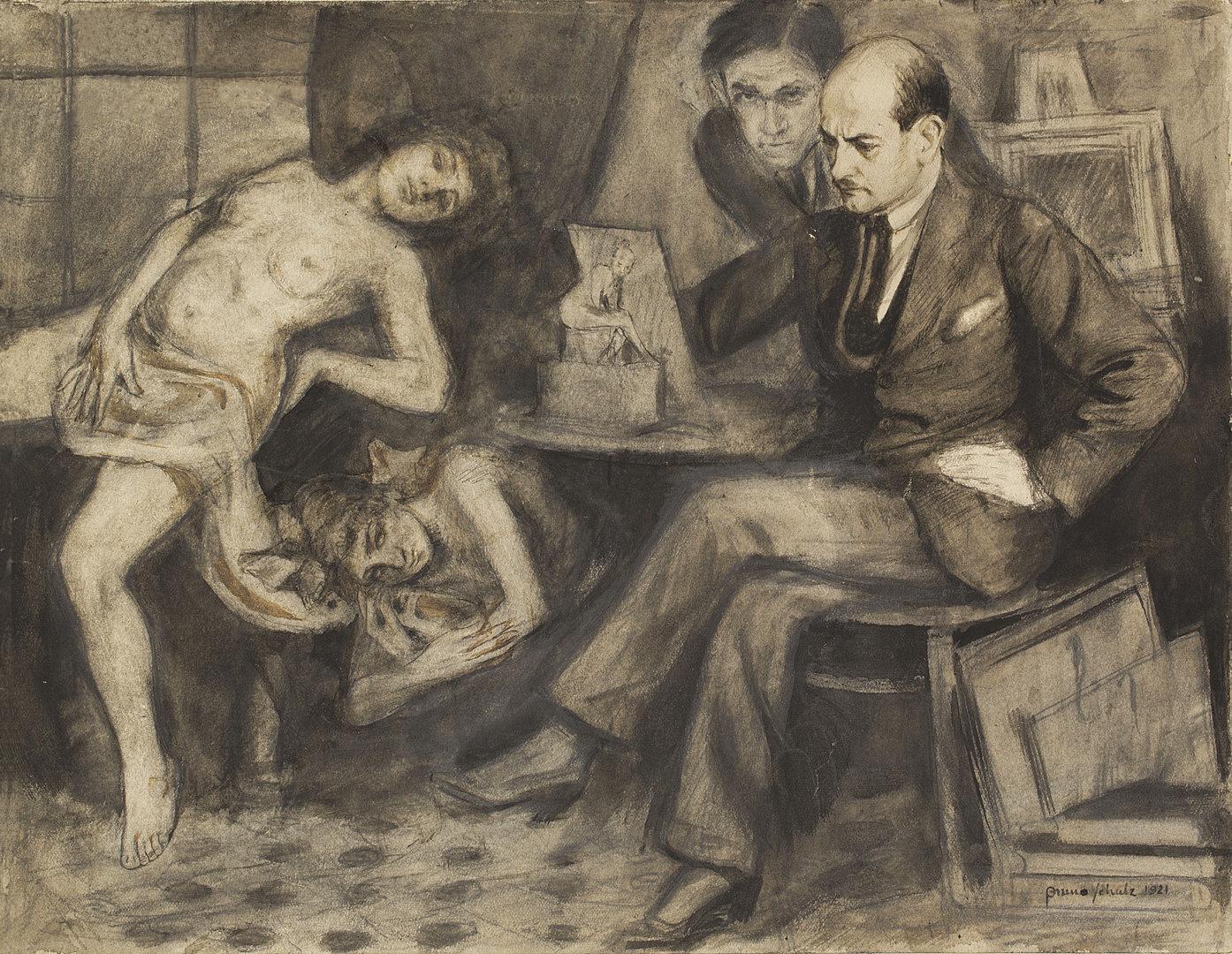 Бруно Шульц. Дві моделі, Б Шульц, С Вайнгарт, 1921; папір, олівець; JHI