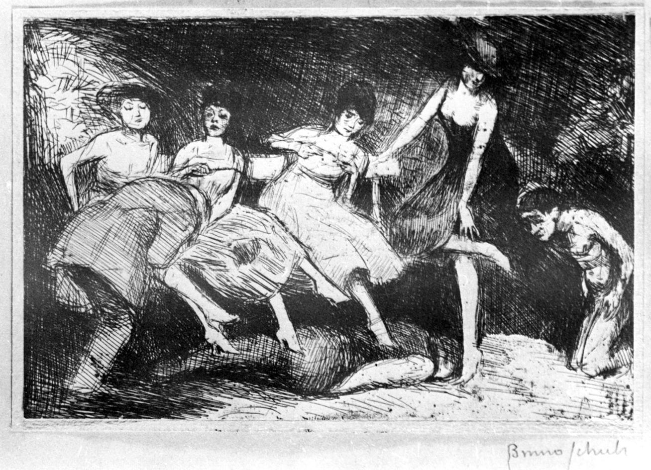 Бруно Шульц. Ігри в саду, 1920; папір, туш (зі зібрки Романа Турина)