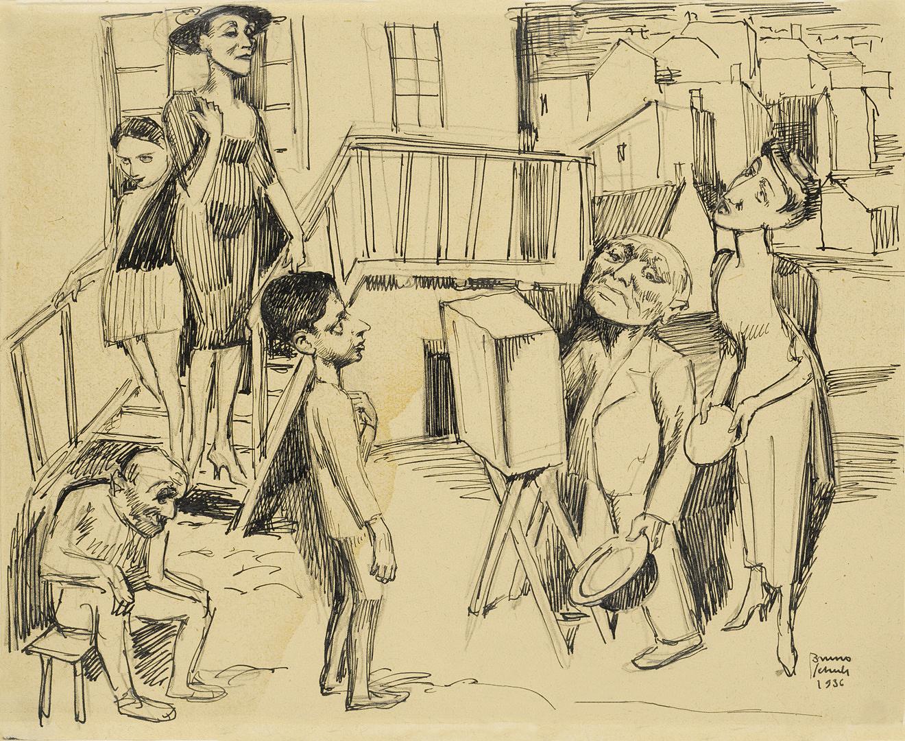 Бруно Шульц. Катеринщик у дворі, 1936; папір, олівець; JHI