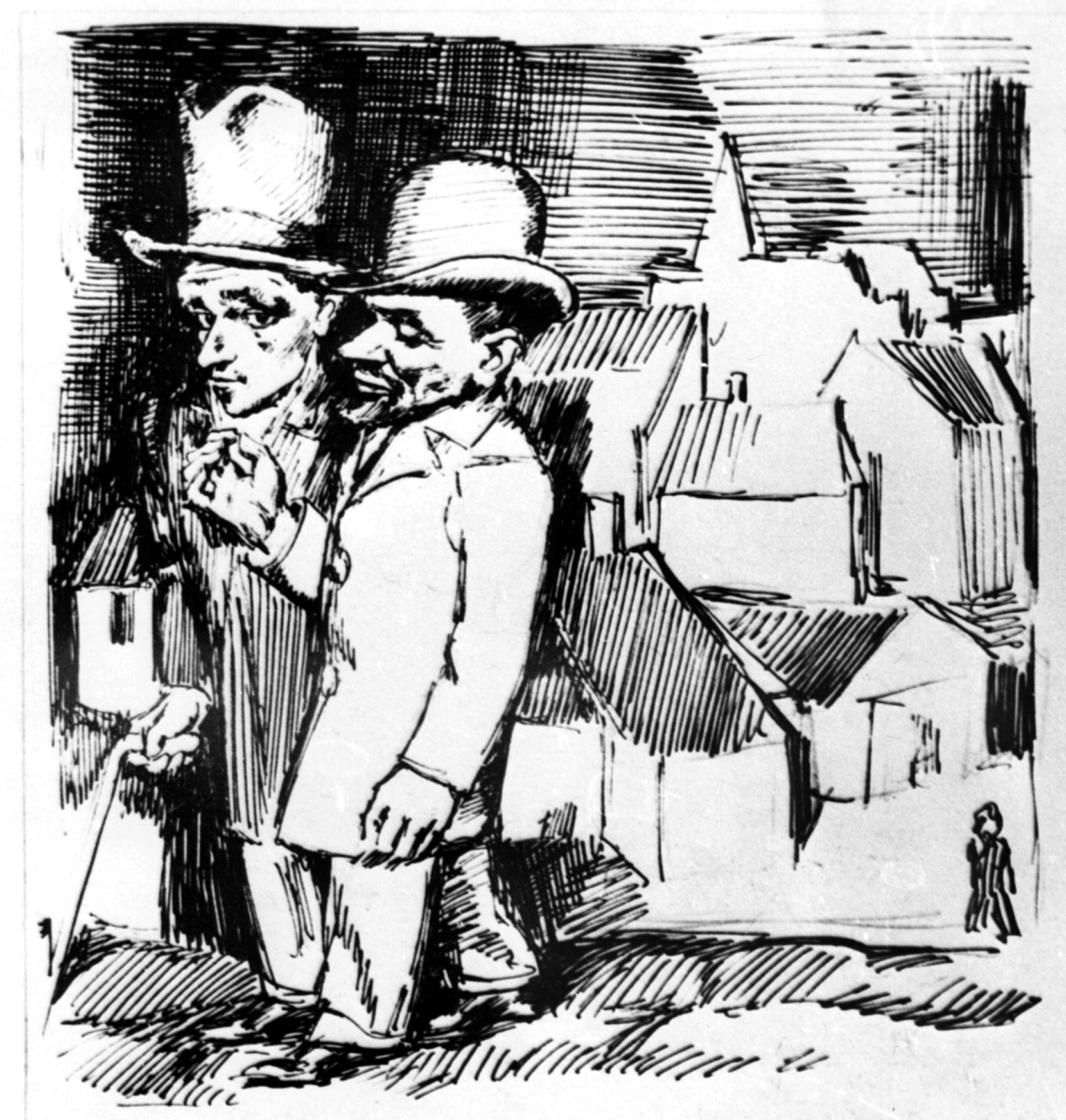 Бруно Шульц. На прогулянці Юзеф i доктор Готард, 1937; папір,туш (зі зібрки Романа Турина)