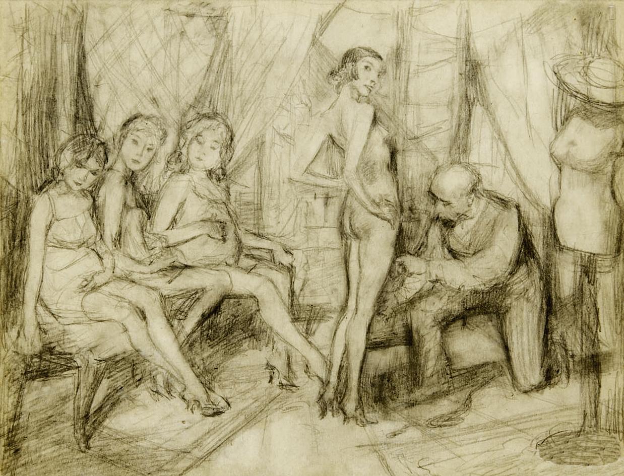 Бруно Шульц. Примірка у кравця, 1930; папір, олівець
