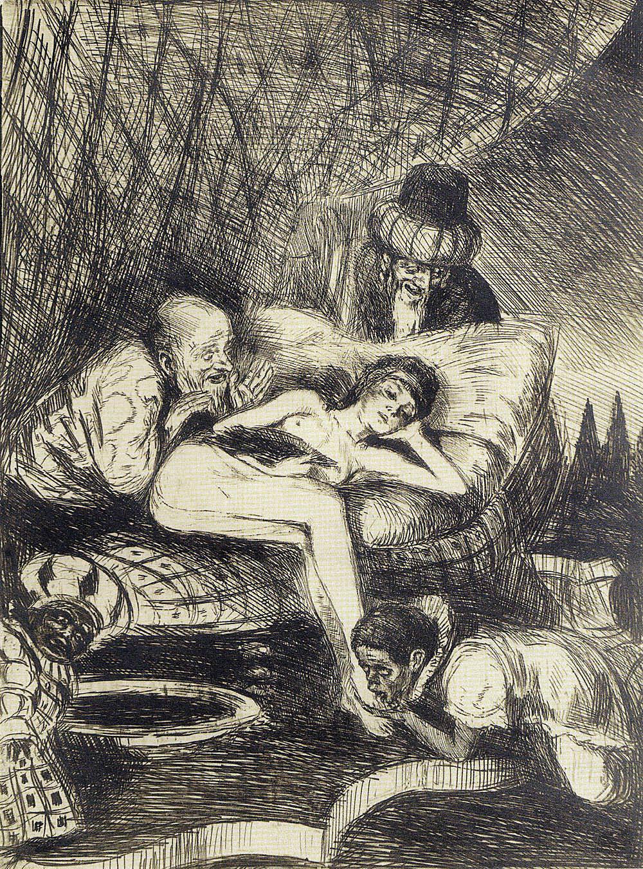 Бруно Шульц. Сусанна і старці, 1920; сliché-verre