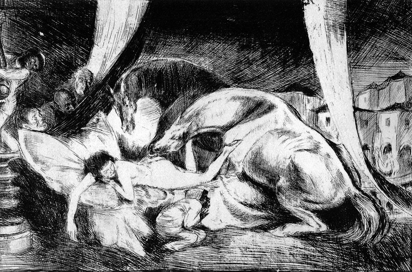 Бруно Шульц. Жеребці й євнухи, 1920-22; сliché-verre; MNW