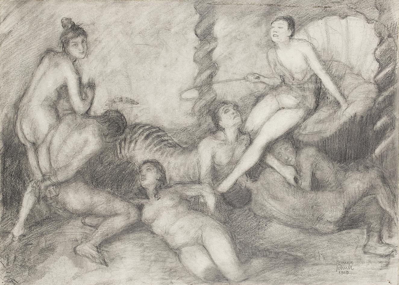 Бруно Шульц. Жінки-садистки, 1919; папір, олівець; JHI