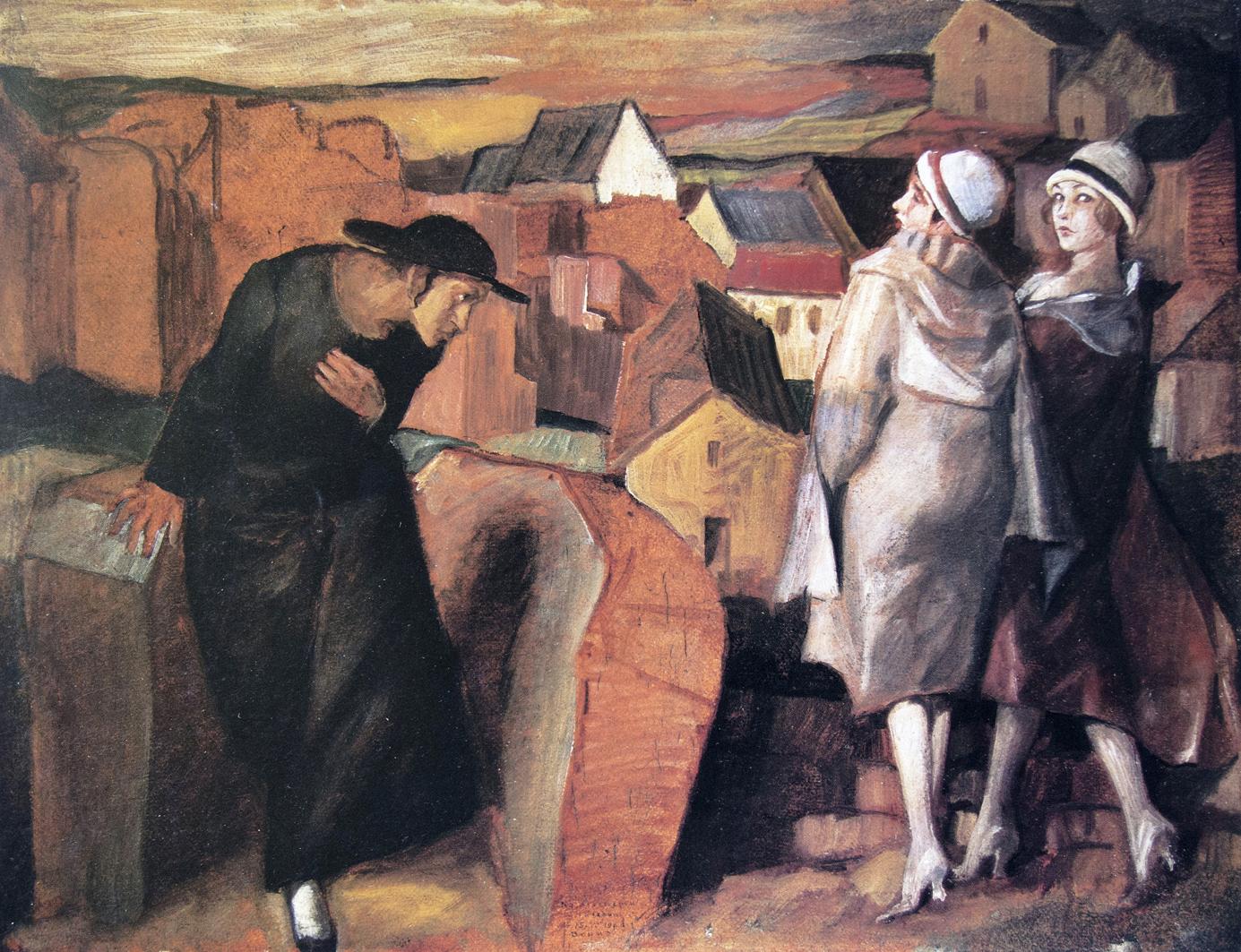 Бруно Шульц. Зустріч, 1922; картон, олія; MSL