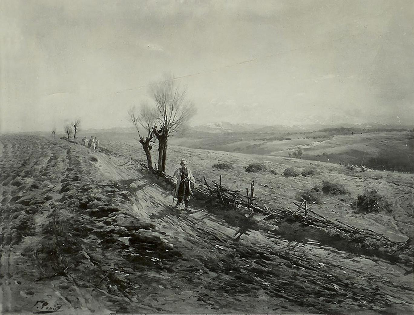 Тадеуш Попель. Ескіз з натури пейзажа для Панорами Рацловіцької, 1894