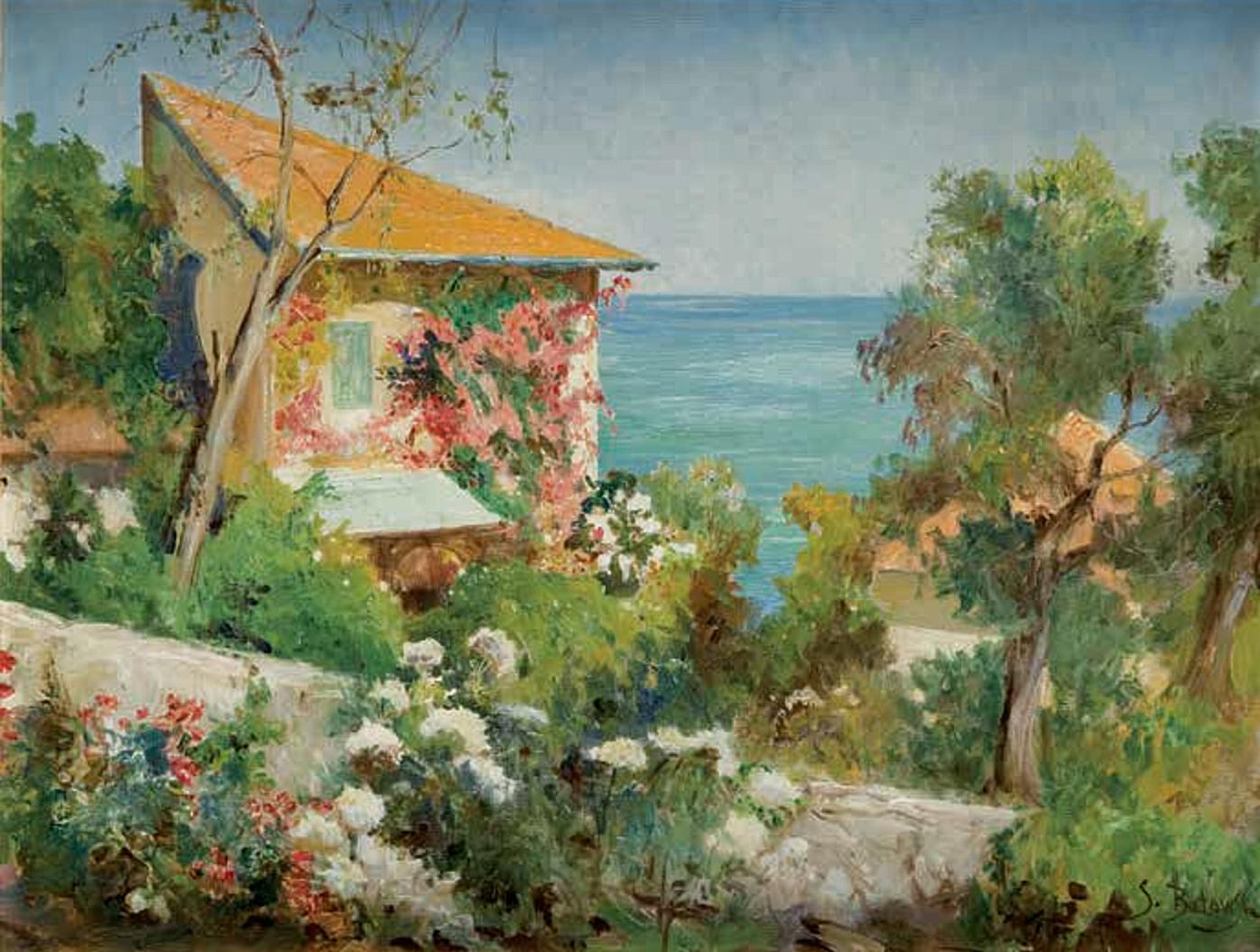 Тадеуш Попель. Італійський пейзаж; олія, полотно