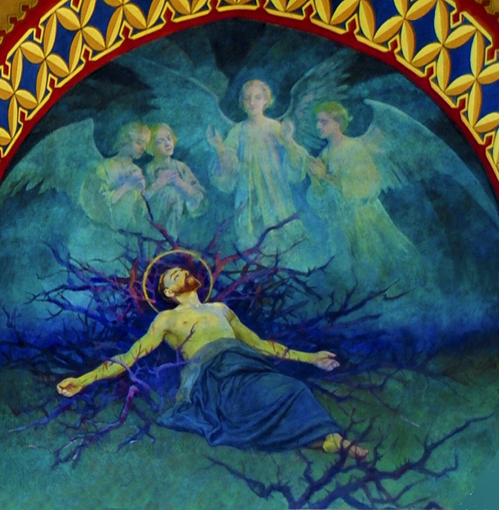 Тадеуш Попель. Спокуса, розпис у Церкві Францисканців, 1905; Краків