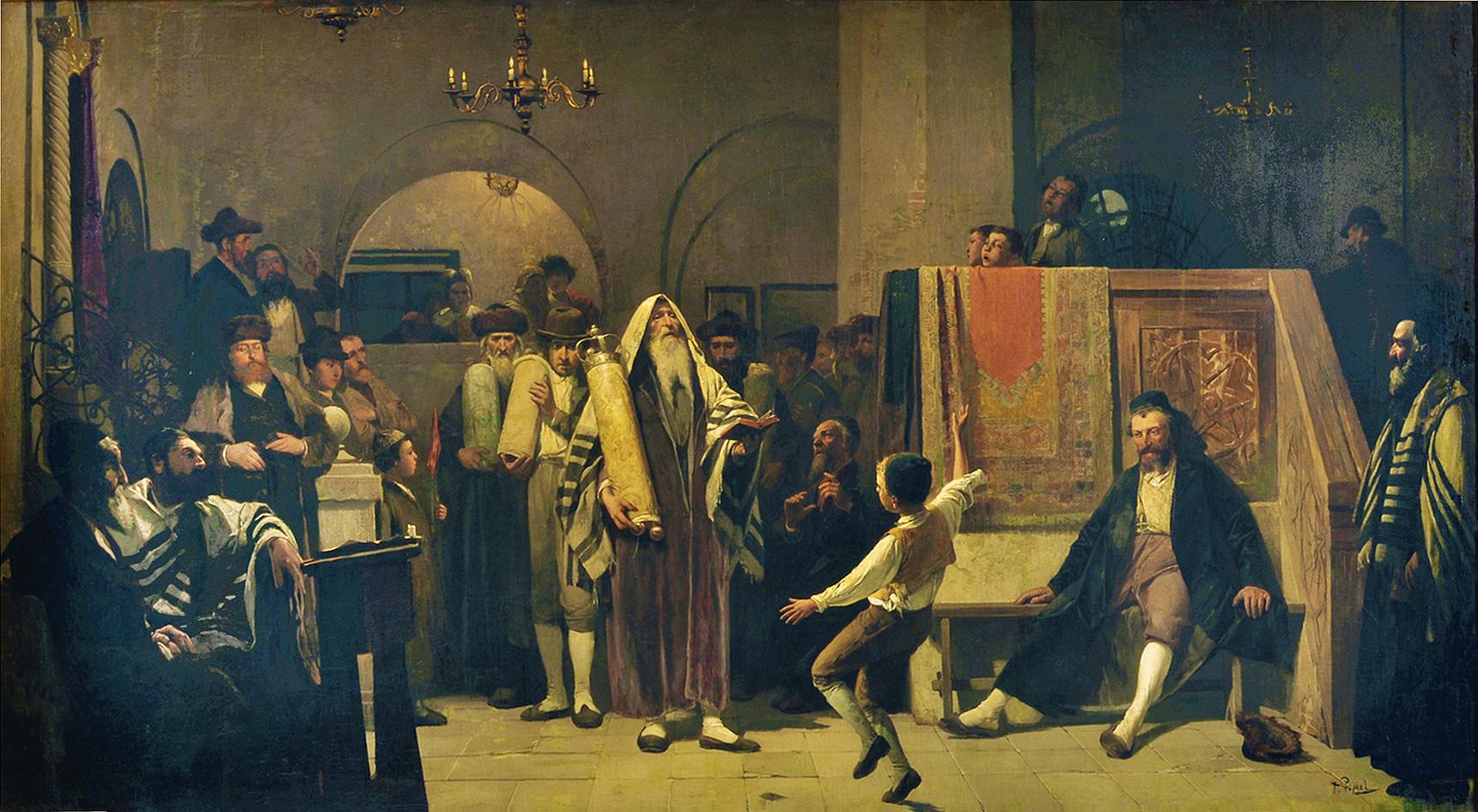 Тадеуш Попель. У молитві радість Тори, 1890-ті; олія, полотно; JHI