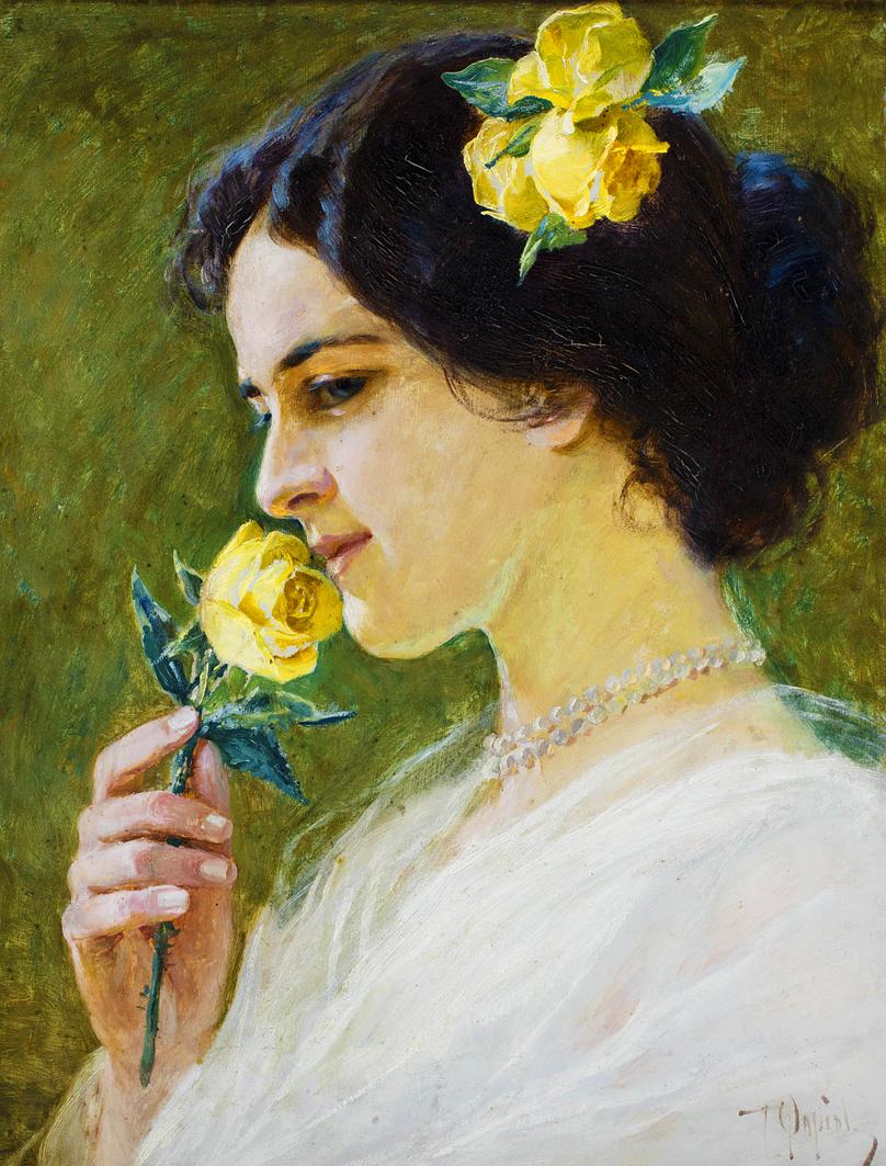 Тадеуш Попель. Молода жінка з трояндою; картон, олія
