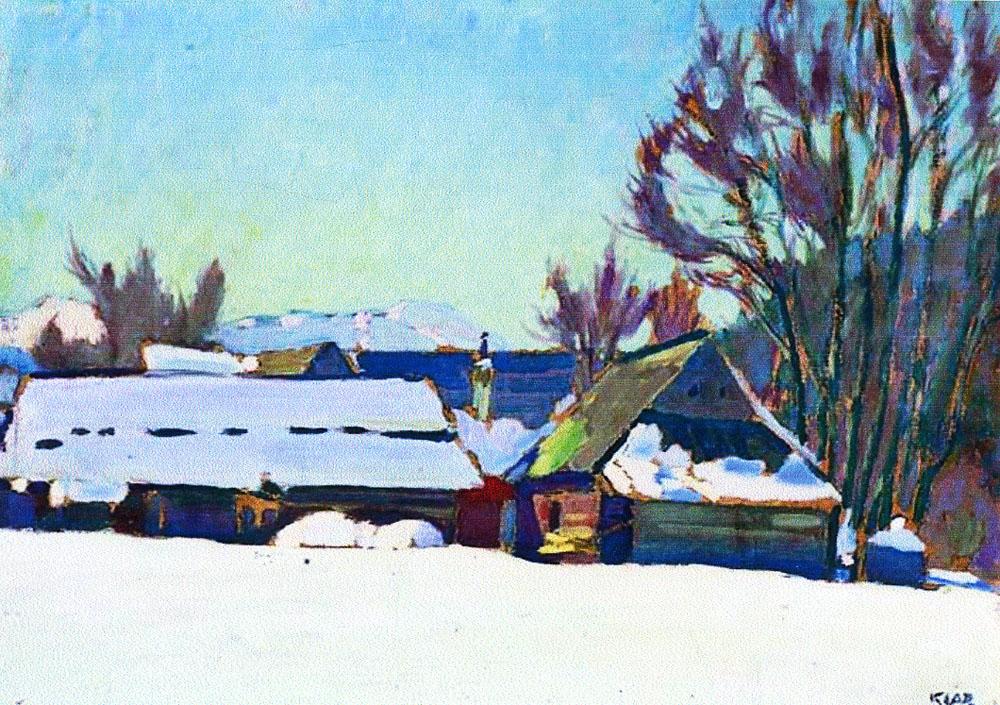 Артур Кляр. Зимовий пейзаж, 1920-30-ті; картон, олія