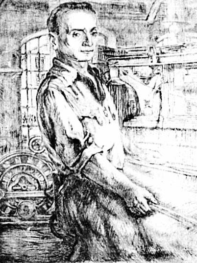 Яків Глязнер. Яків Глязнер. Ткач, 1930-ті; папір, суха голка