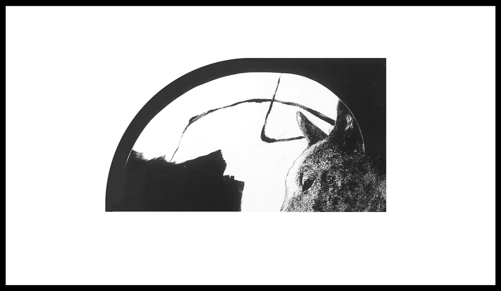 Катерина Сад. Пес, 2018; суха голка, монотипія, 50х70