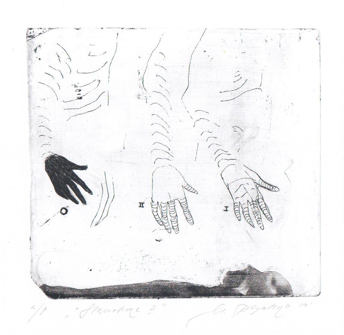 Марія Пляцко. Структура 2, 2019; офорт, 13х18