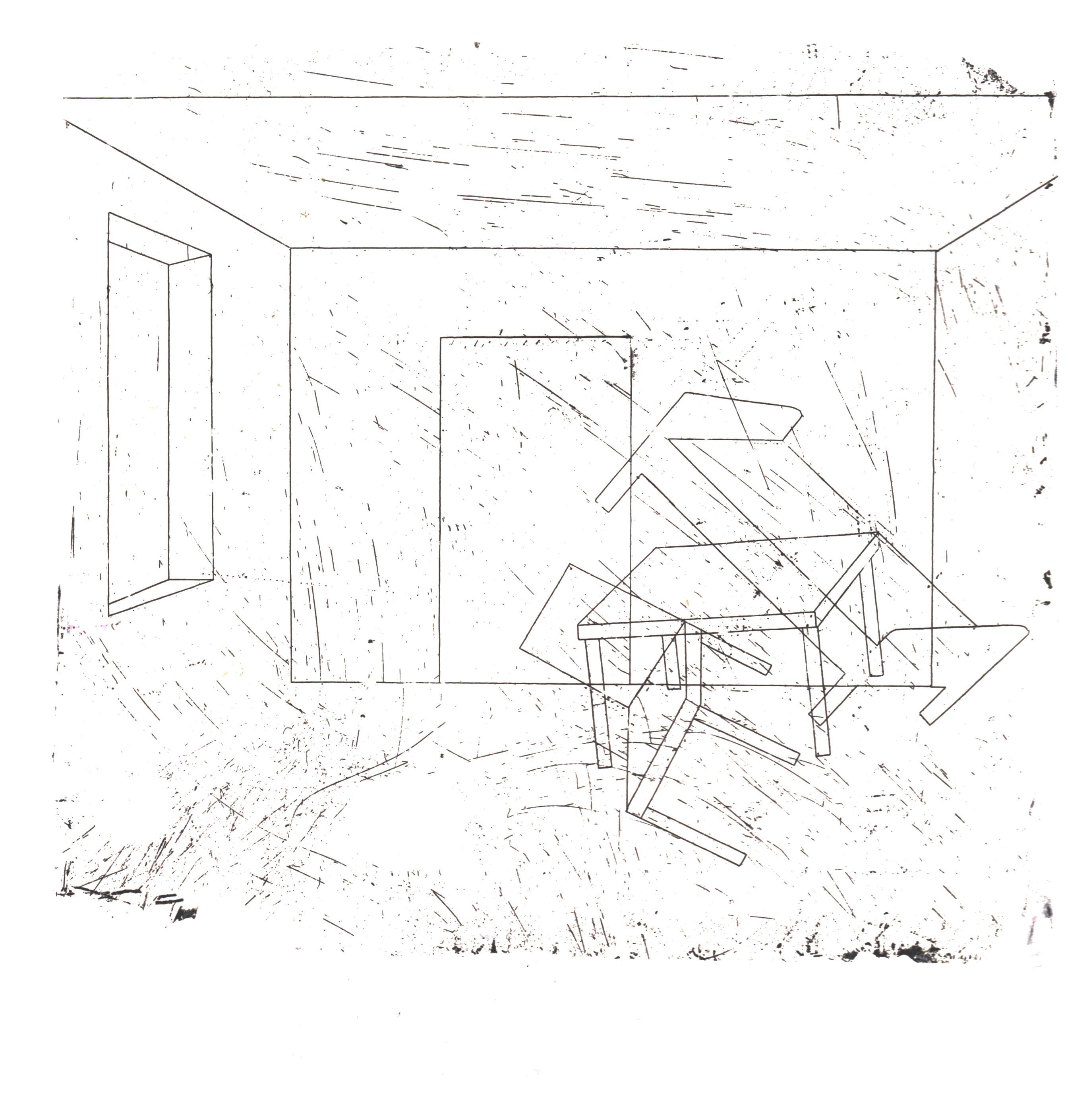 Олександра Сиса. Кімната №1 (агнозія), 2019; офорт, 16х15