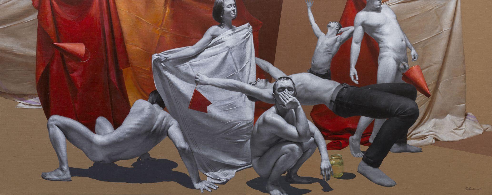 Юрій Коваль. Композиція з банкою води (диптих), 2018; акрил, олія на полотні, 120х300