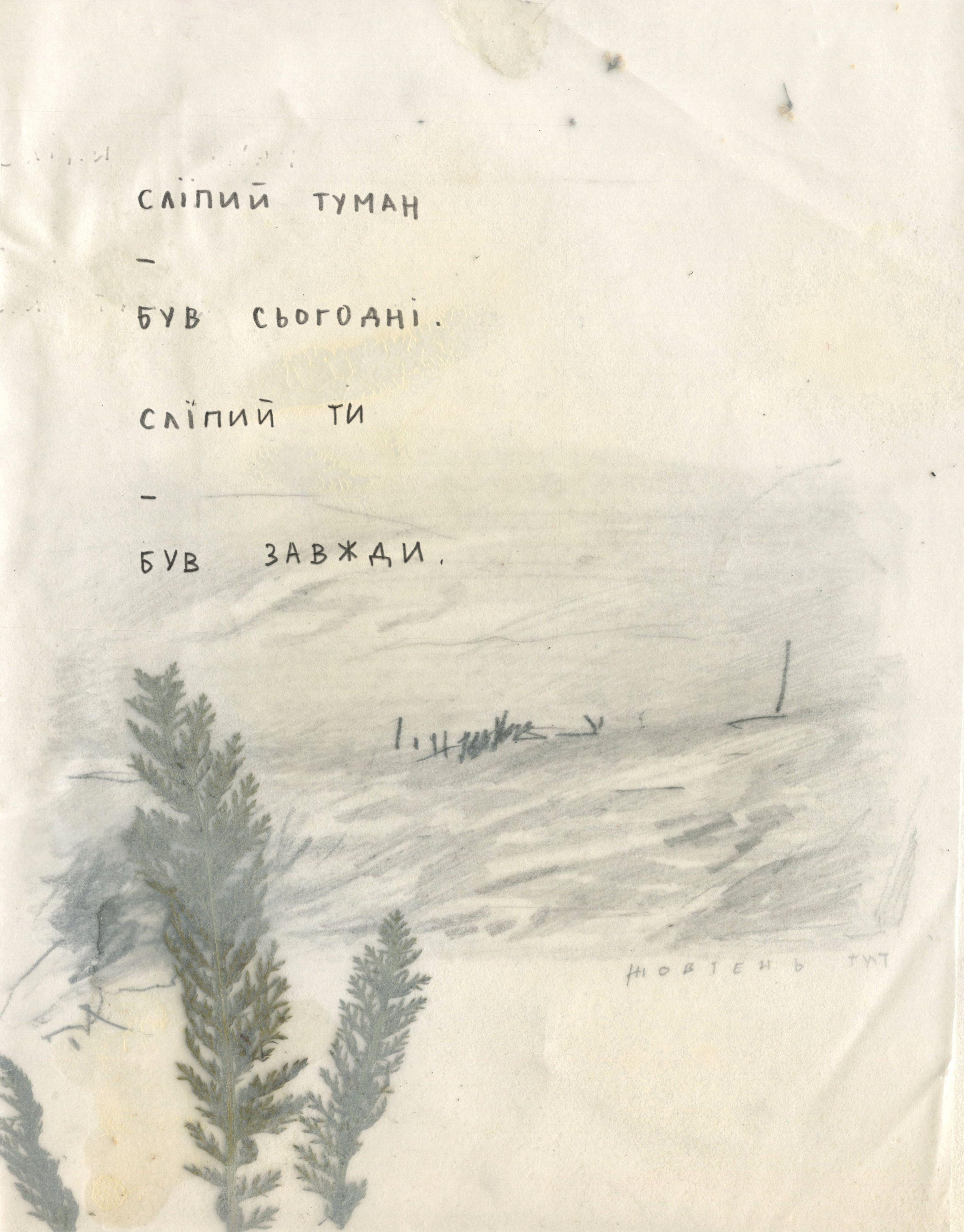 Євгенія Любчик. Сліпий туман, 2019; рисунок, колаж, 14х18