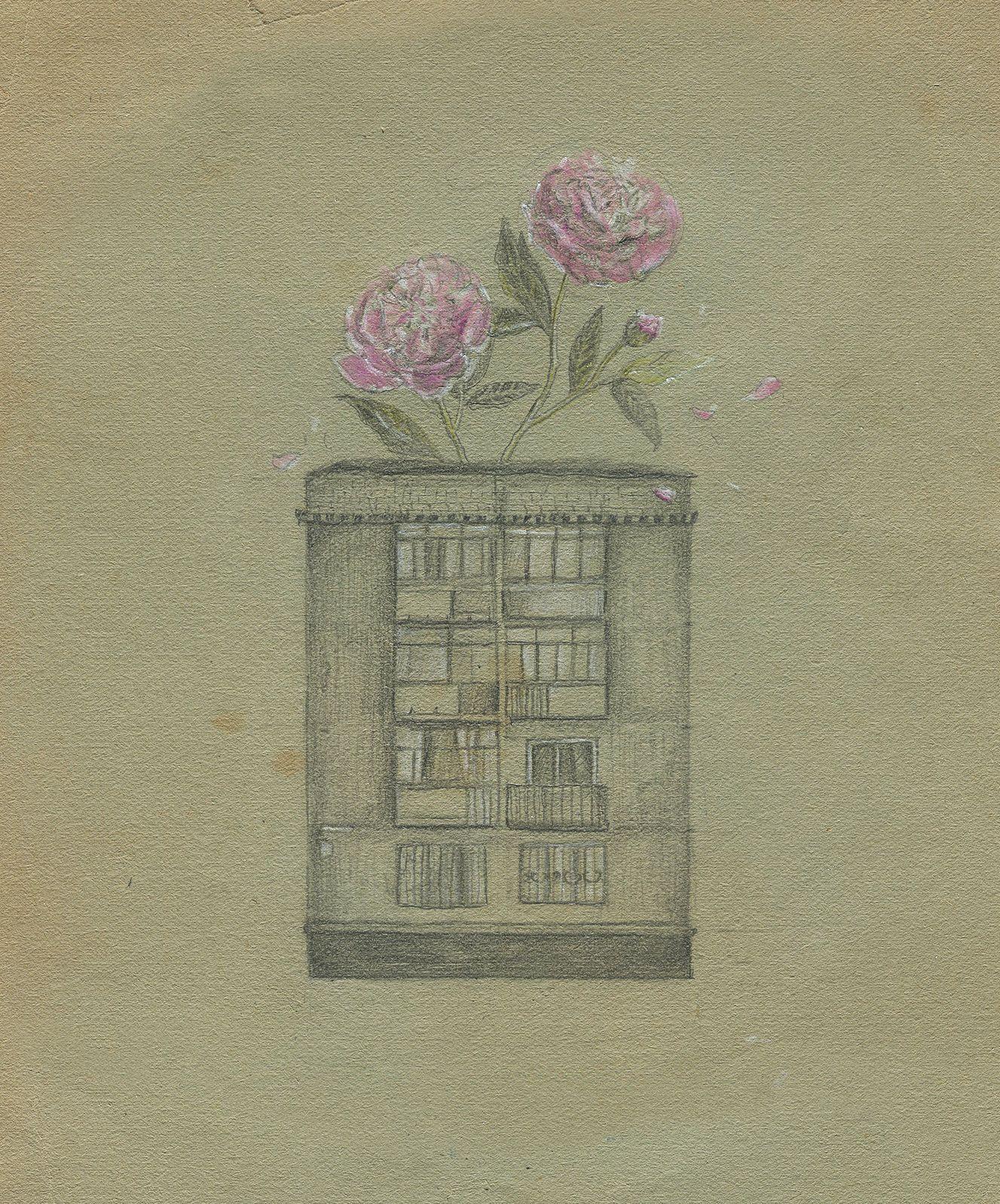 Євгенія Любчик. Зелений дім, 2020; рисунок, олівець, кольорові олівці, 13х17