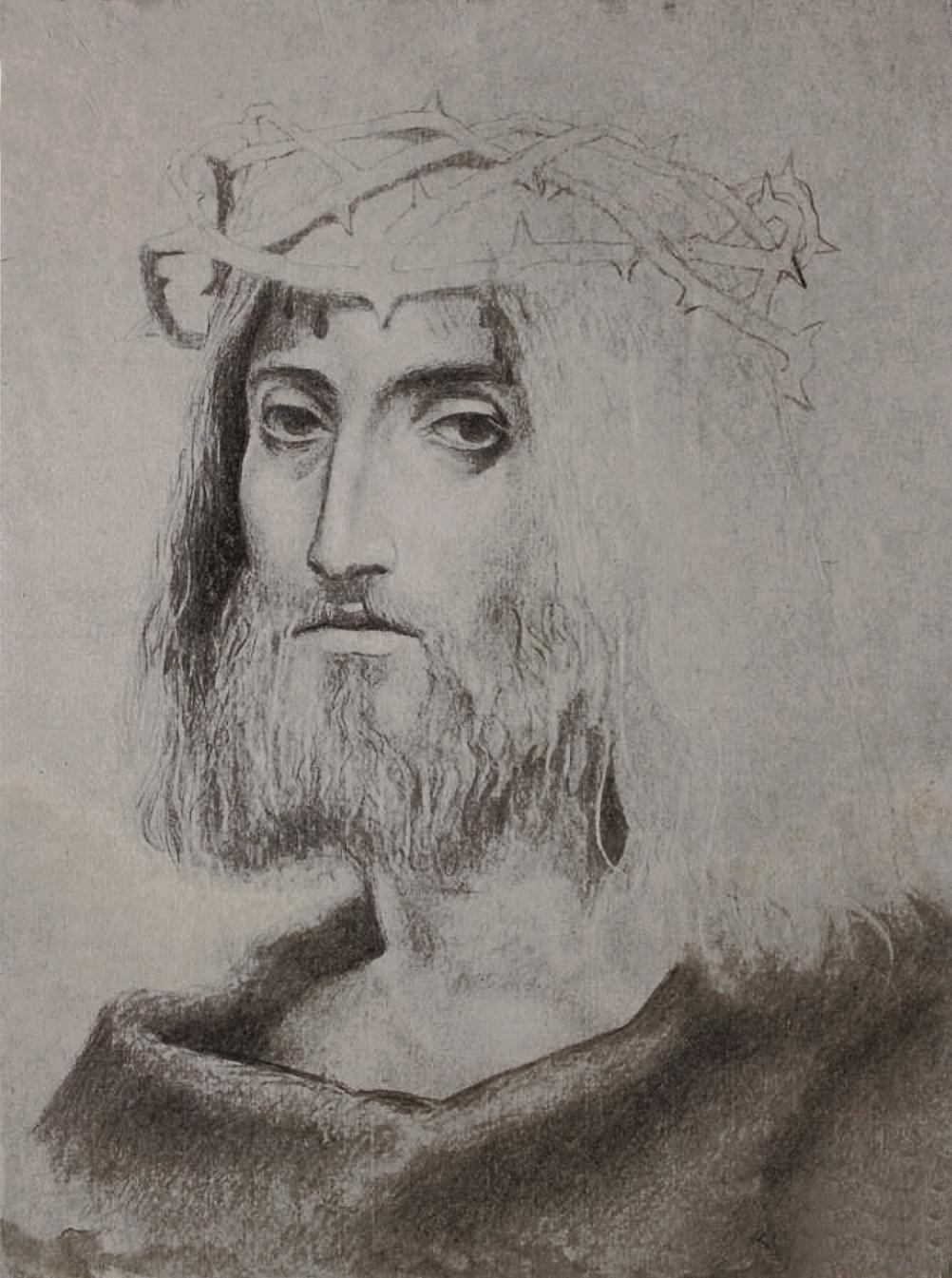 Фриц Кленйман. Христос у терновому вінці, папір, олівець