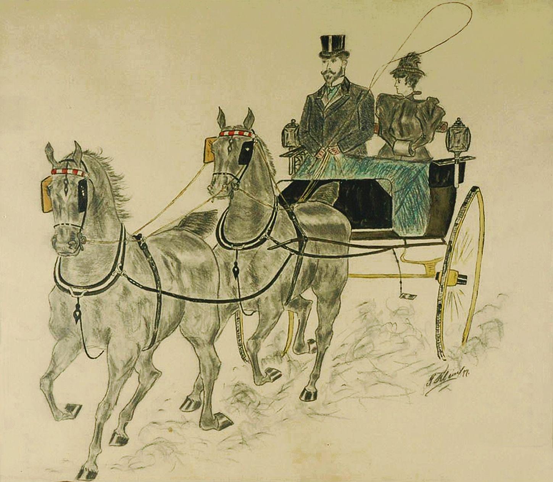 Фриц Кленйман. Кінний візок, 1927; папір, вуголь, туш, пастель