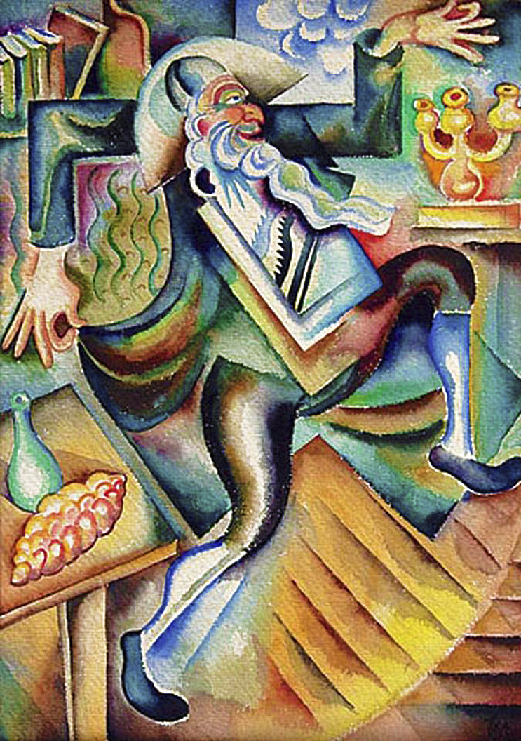 Фриц Кленйман. Танцюючий рабин, 1918; папір, акварель
