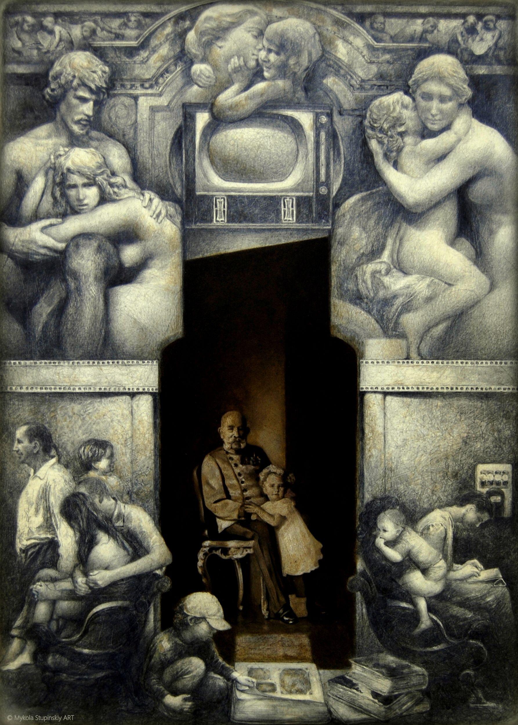 Микола Ступінський. Історія (з серії Телегільйотина), 2016; папір, олівець, 49х35