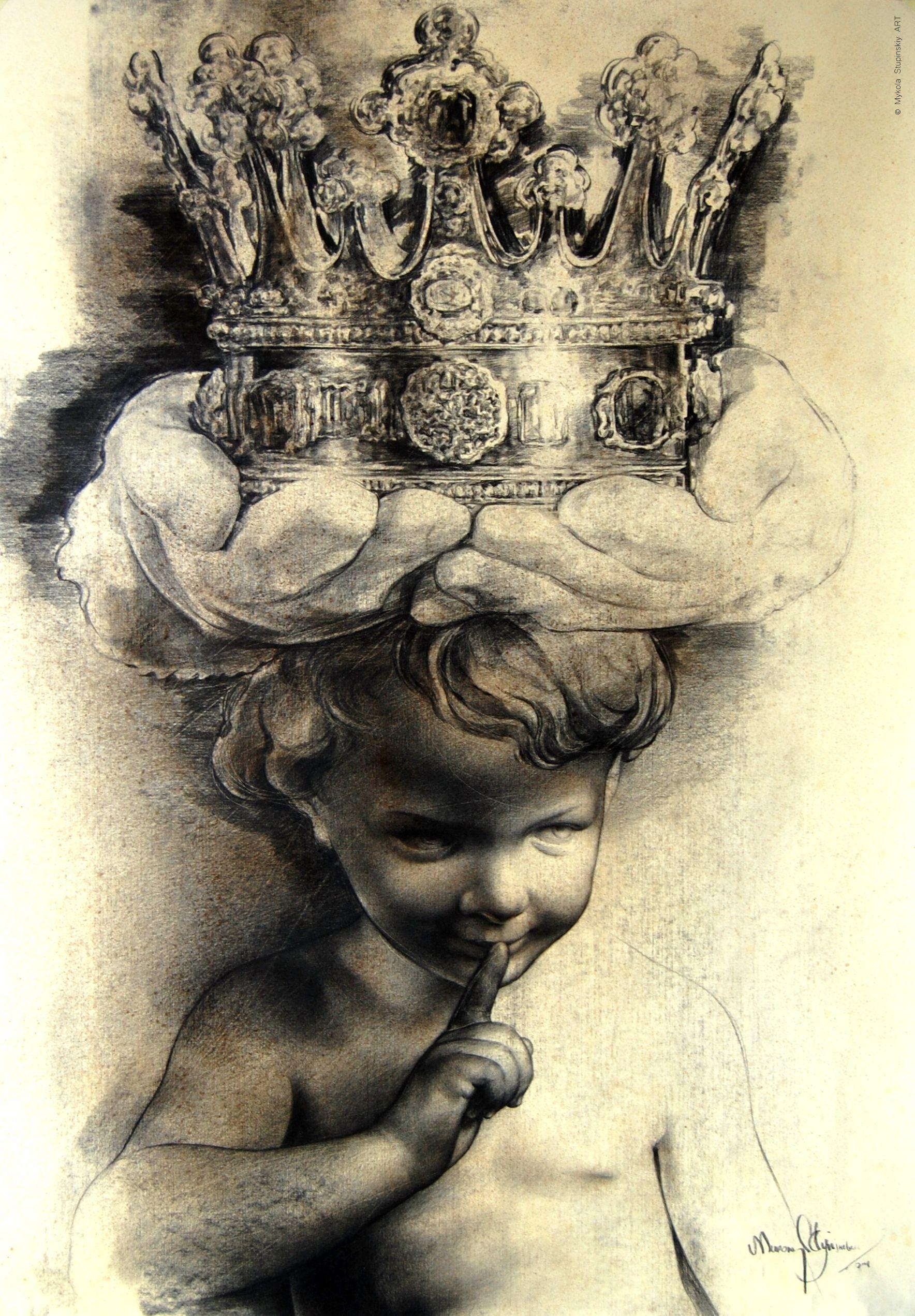Микола Ступінський. Королі наших днів, 2016; папір, олівець, 100х70