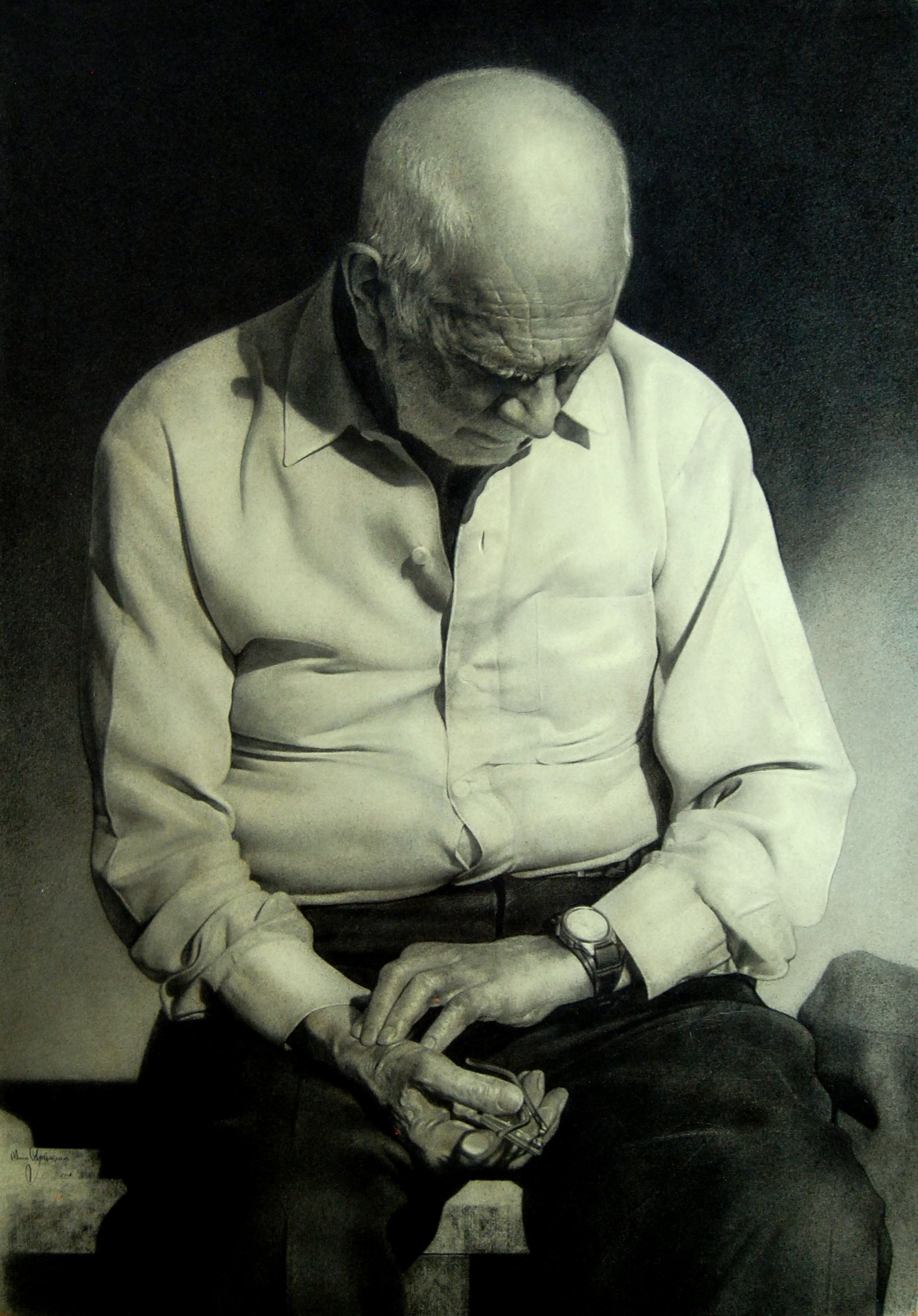 Микола Ступінський. Пульс землі, 2018; папір, олівець, 100х70