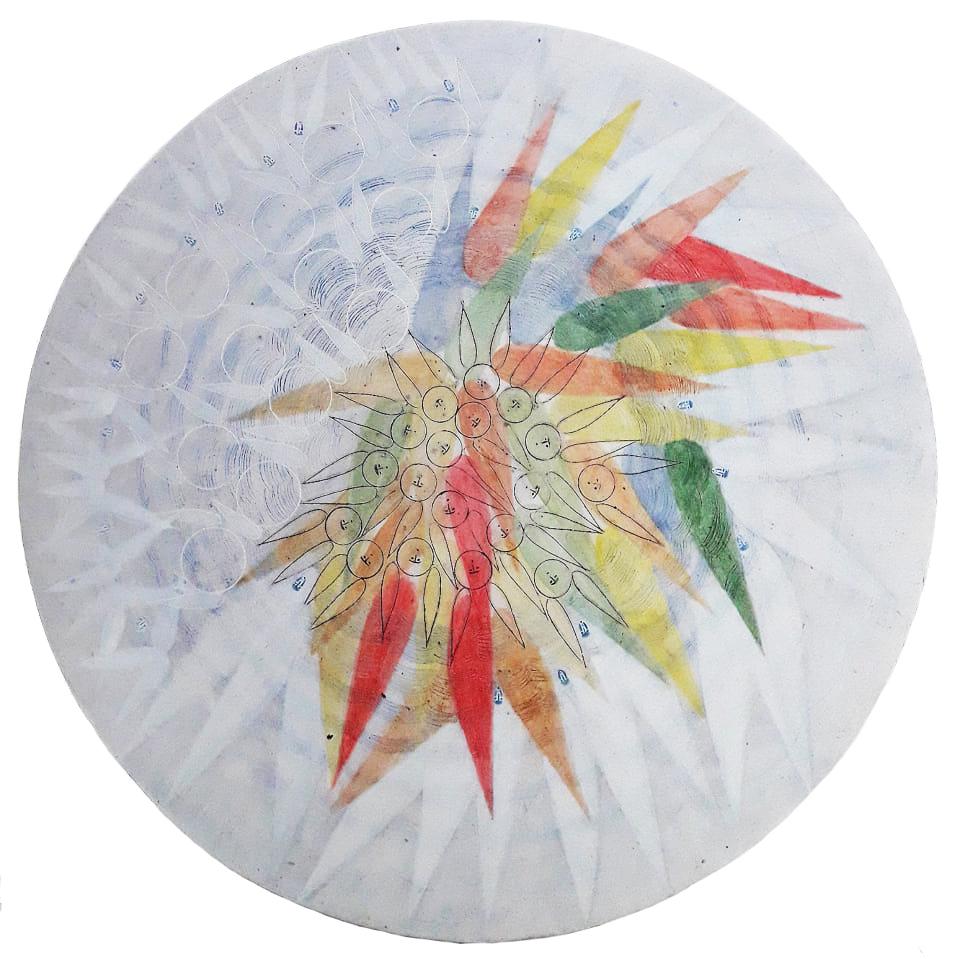 Наталя Русецька. Ангели, 2019; дошка, левкас, жовткова темпера, D25