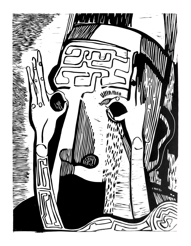 Орест Зьомко. Без назви (серія «Страхи»), 2019; папір, лінорит, 70х100