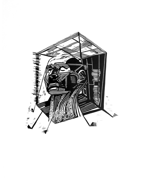 Орест Зьомко. Особистий простір (серія «День»), 2018; папір, лінорит, 60х85