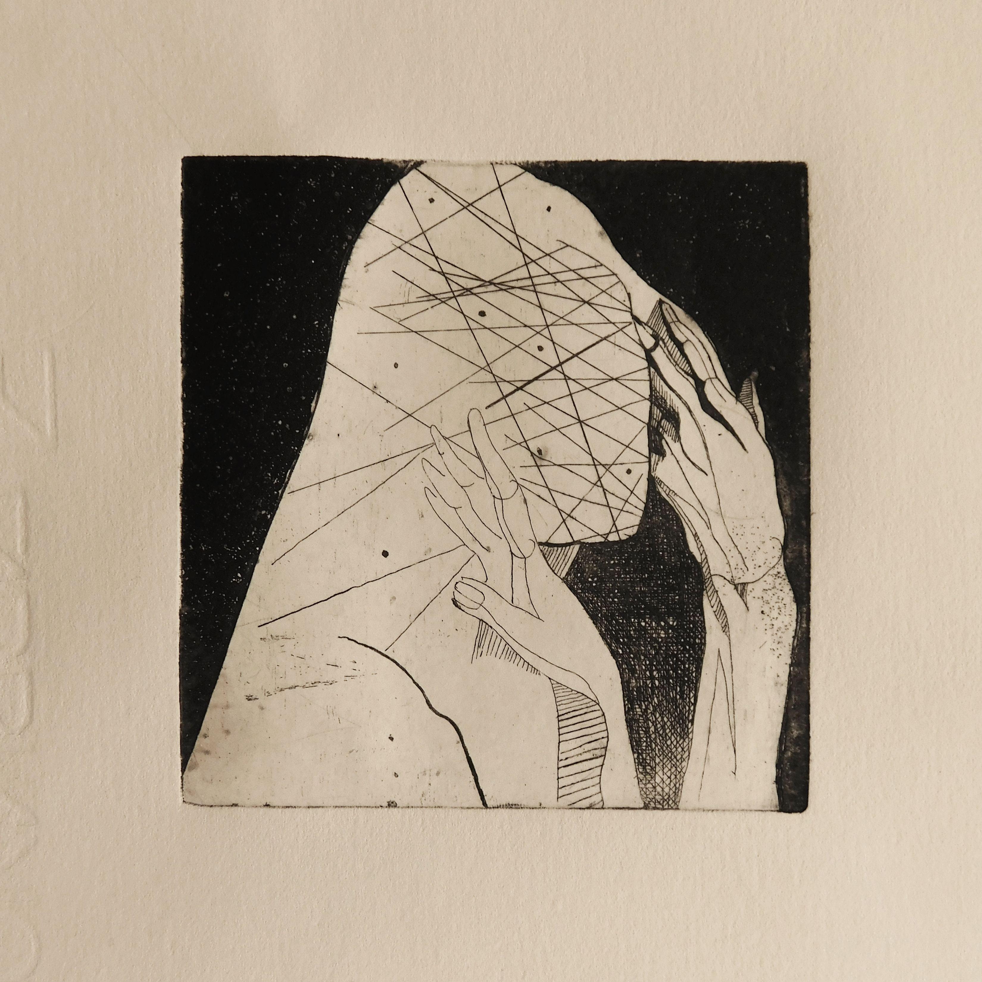 Орест Зьомко. Без назви (серія «Міста і люди»), 2020; папір, офорт, акватинта, 10х9