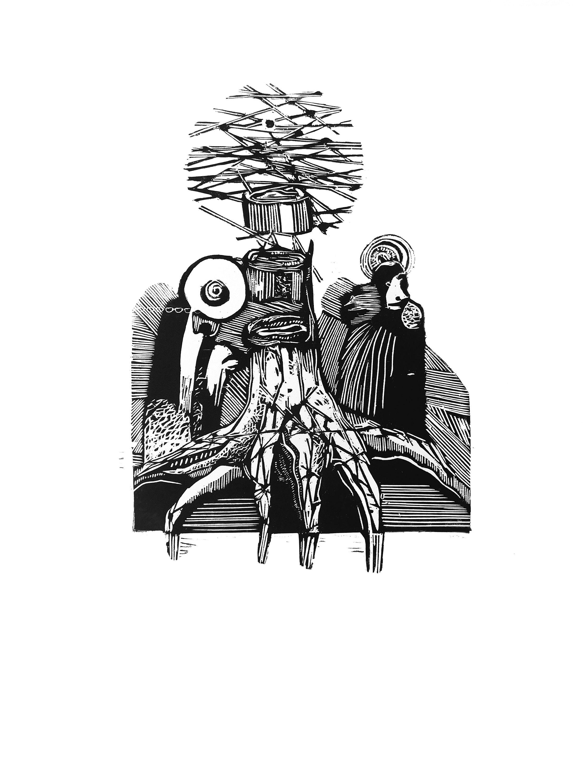 Орест Зьомко. Сон (серія «День»), 2018; папір, лінорит, 60х85