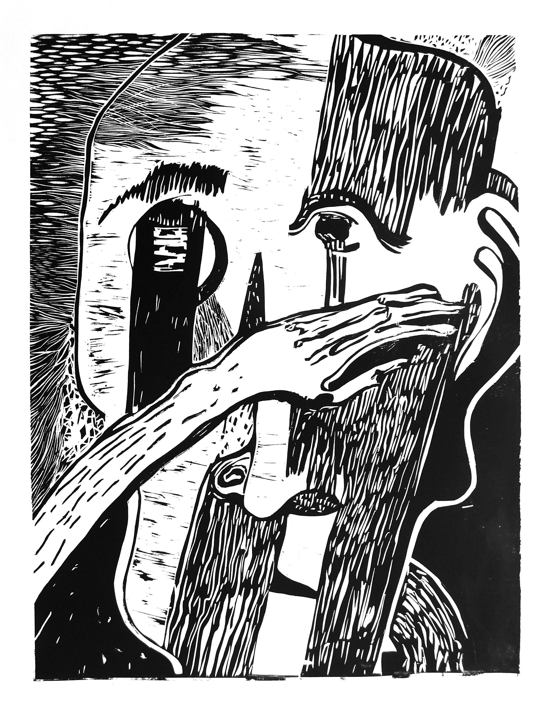 Орест Зьомко. Без назви (серія «Страхи»), 2017; папір, лінорит, 70х100
